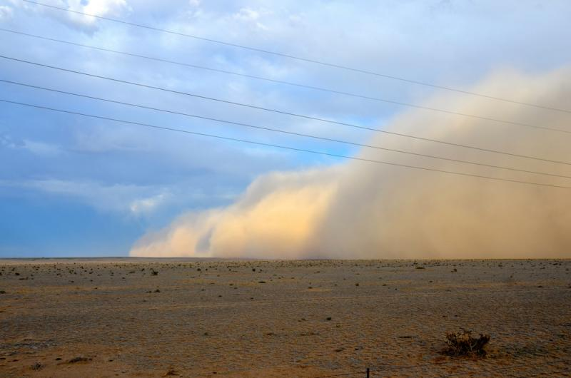 A dust storm rolls through the plains outside Boone, Colo., in June 2013.