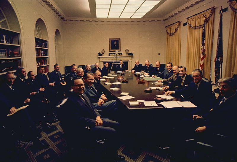 President Nixon with his first cabinet.