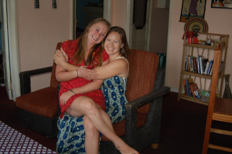 Libby (left) and Kayla Casavant sit in Kayla's Monrovia apartment, before both of them fled after the Ebola outbreak.