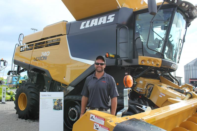 Harrison Lingenfelter's prepared to tell farmers why Claas' Lexion 740 combine outshines the competition.