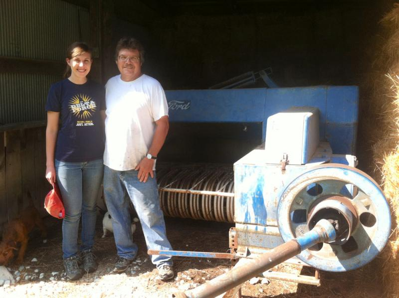 Emily Robbins and her father, Vic, at the family's farm in Osage County, Kan.