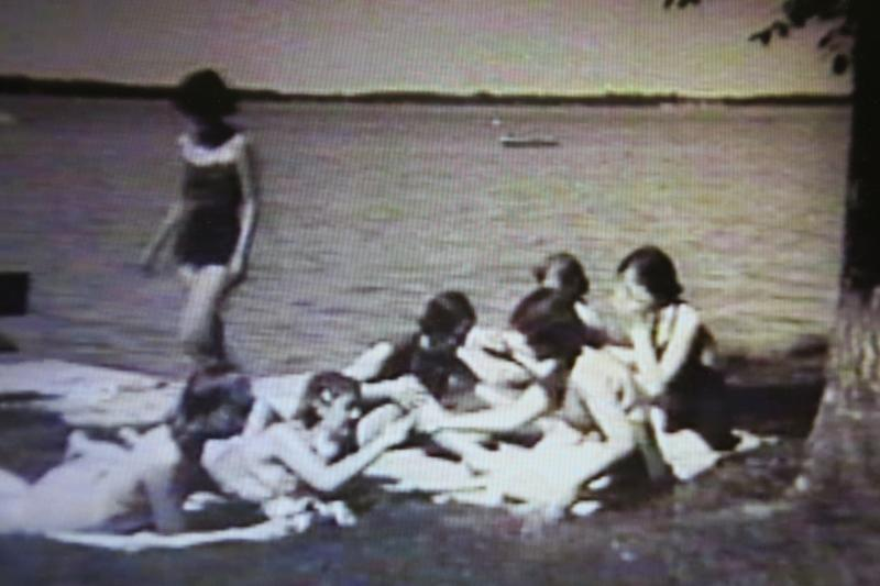 One-piece swim suits were the fashion at Clear Lake in this program on water safety