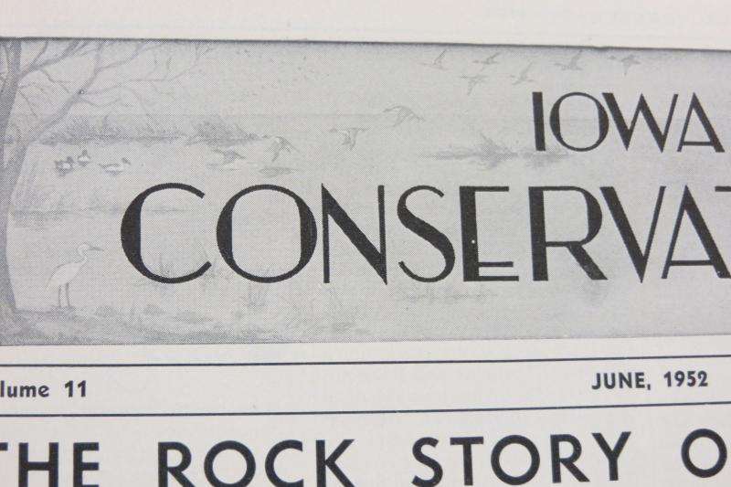 Artist Maynard Reece created the artwork for the Iowa Conservationist masthead in 1942, a forerunner of Iowa Outdoors
