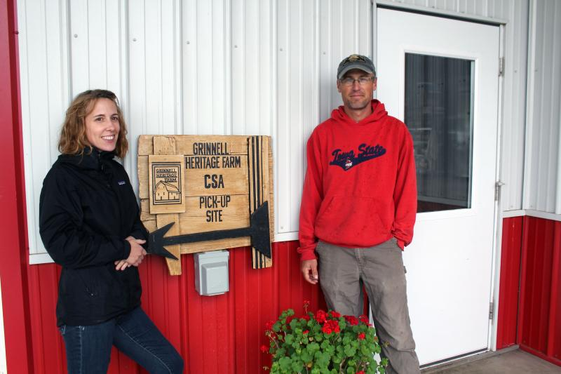 Melissa and Andrew Dunham grow 22 acres of fruits and vegetables and raise a small herd of cattle in Grinnell.