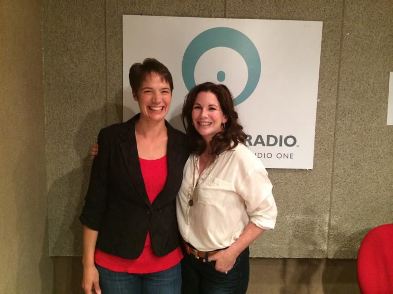 """Talk of Iowa"" host Charity Nebbe with actress Melissa Gilbert in Iowa Public Radio's Iowa City studio"