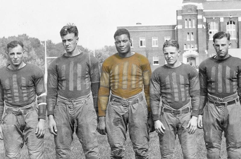 Jack Trice (center) died after a violent incident in a football game in Minnesota on October 6, 1923