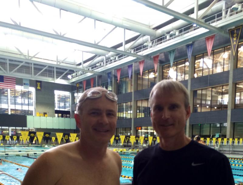 Ben Kieffer and UI Swimming Coach Marc Long after Ben's swimming lesson