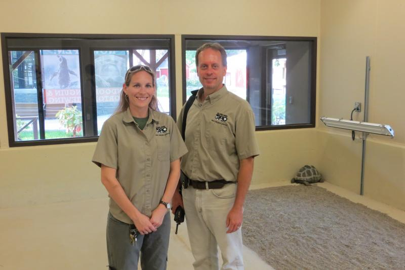 Shannon Mc Kinney and Kevin Drees inside the new indoor tortoise shelter