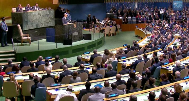 Screen shot from the White House's official video of President Obama's address to the United Nations General Assembly on September 24, 2014.