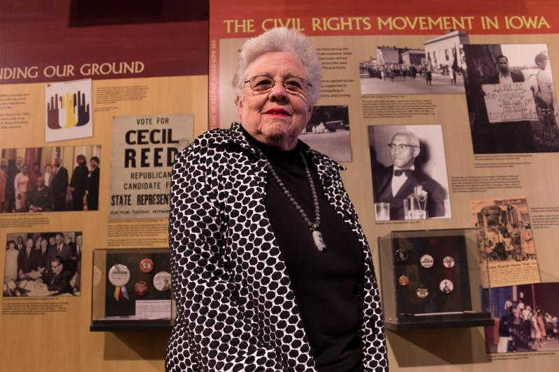"""Judy Norrell visiting the African American History Museum of Iowa for a symposium held there and at the Cedar Rapids Museum of Art.  Her photos of rare Civil War photos are part of the Museum of Art exhibit, """"Shadows of History""""."""
