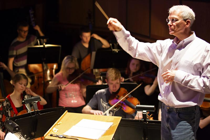 The Luther College pit orchestra under the directin of Daniel Baldwin rehearses for the opera performances