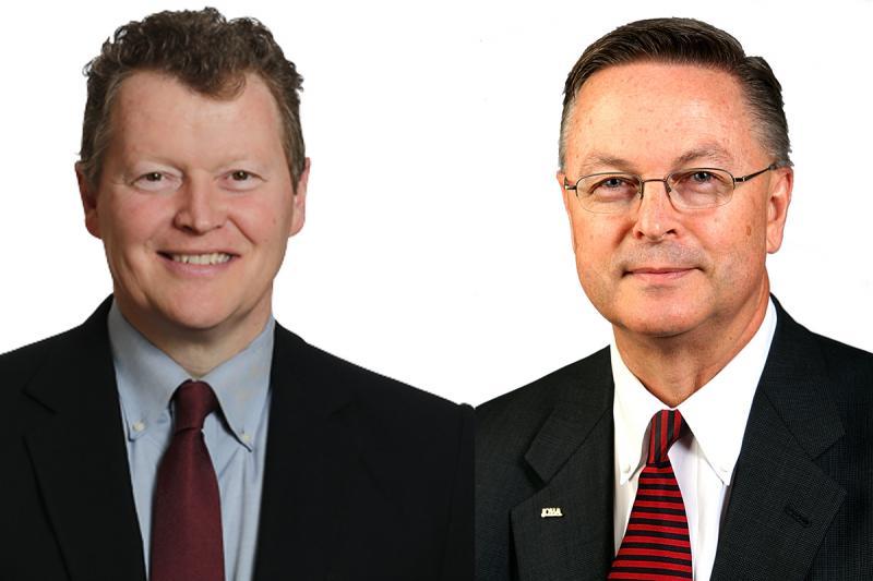 Composite images of Democrat Pat Murphy and Republican Rod Blum