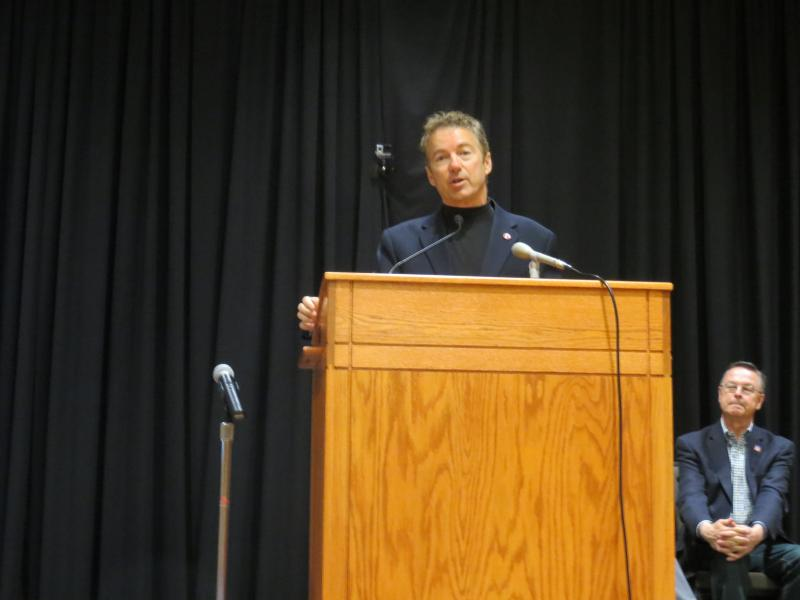 U.S Senator Rand Paul of Kentucky appeared at a rally for Republican First District Congressional candidate Rod Blum (seated) on the UNI campus Wednesday.