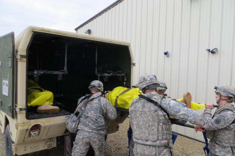 After stabilizing the patients, a medevac rushes them to waiting doctors