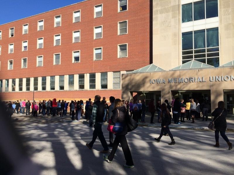 Students lined up outside the Iowa Memorial Union to see First Lady Michelle Obama