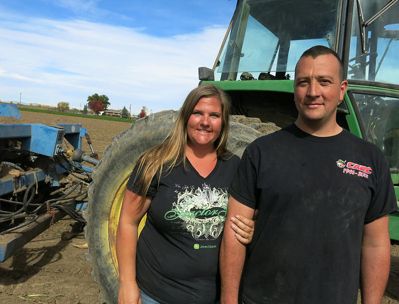 Farmers Sondra and Matt Pierce split the duties on their sugar beet farm in rural Boulder County, Colo.