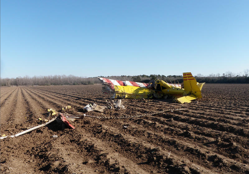 A crop dusting plane crashed near Jennings, La., in February 2013.