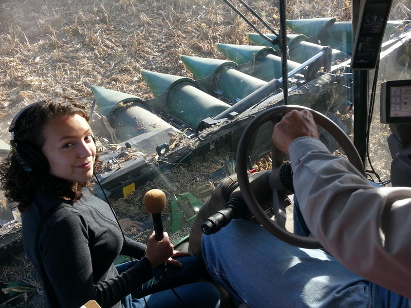 Producer Emily Woodbury in the combine