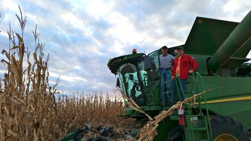 Jim Sladek and Ben Kieffer on the combine