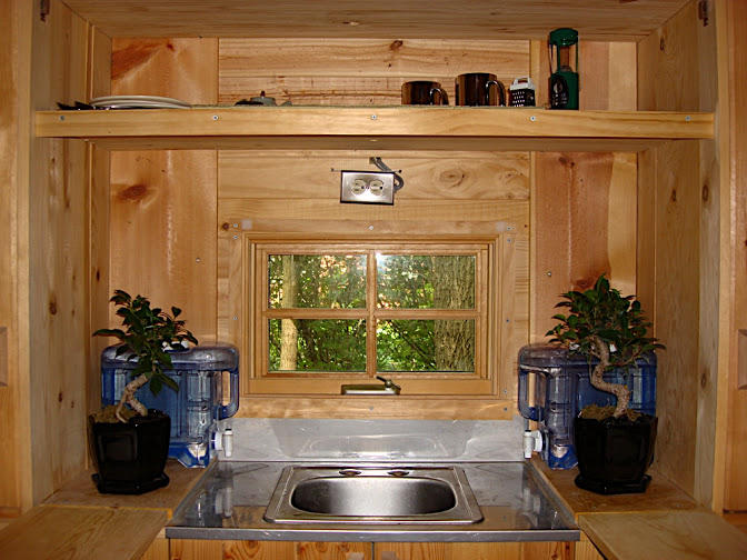 The kitchen sink in Greg Johnson's first tiny house.