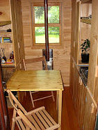 A kitchenette table in Greg Johnson's first tiny house. He says when he moved in, it was upscaling from his efficiency apartment.