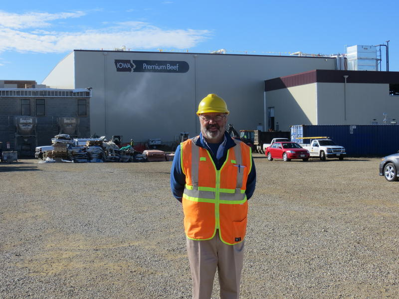 Iowa Premium Beef CEO Jeffrey Johnson stands outside the new 200, 000-square- foot beef processing plant in Tama