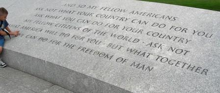 One of President John F. Kennedy's most famous quotes is etched on the JFK Memorial at Arlington National Cemetary