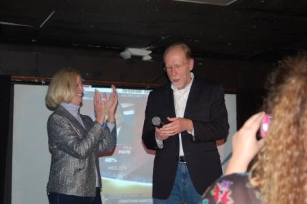 2nd District Democrat Incumbent Dave Loebsack is joined by his wife Terry as he speaks to supporters at The Mill in Iowa City