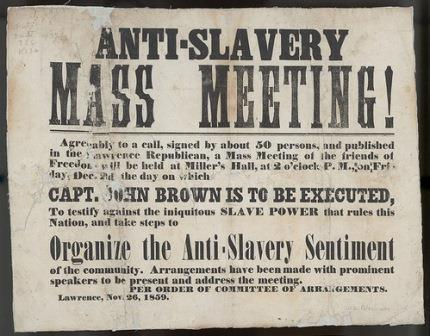 Advertisement of an anti-slavery meeting to be held on December 2, 1859, in Lawrence, Kansas Territory, on the day that abolitionist John Brown was executed.