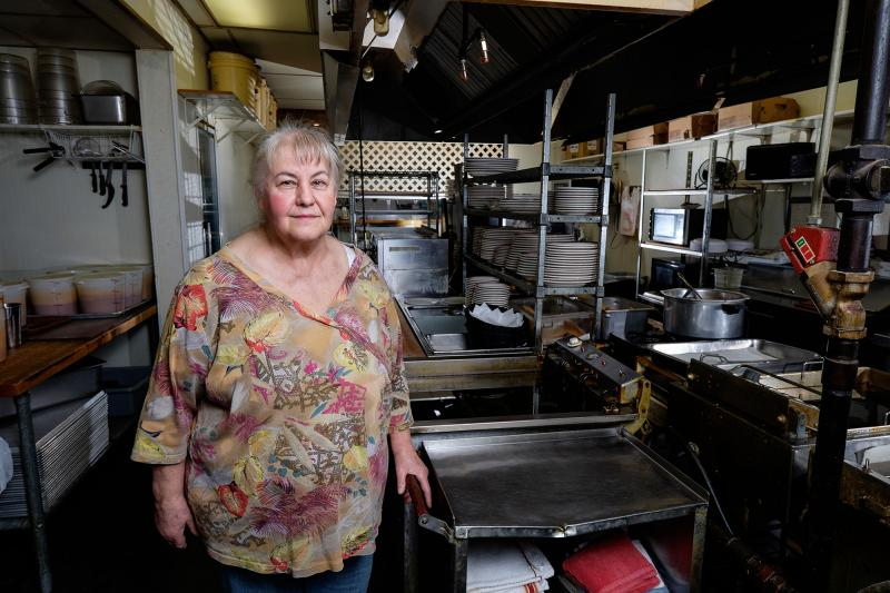 Carole Hinders, owner of Mrs. Lady's Mexican Food, in her restaurant's kitchen