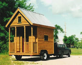 Greg Johnson's first tiny house was built on wheels, to make it portable. It doesn't have modern plumbing, a shower or a running water.