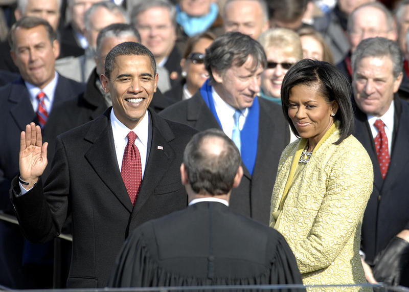 Barack Obama takes the oath of office administered by Chief Justice John G. Roberts, Jr. at the Capitol, January 20, 2009