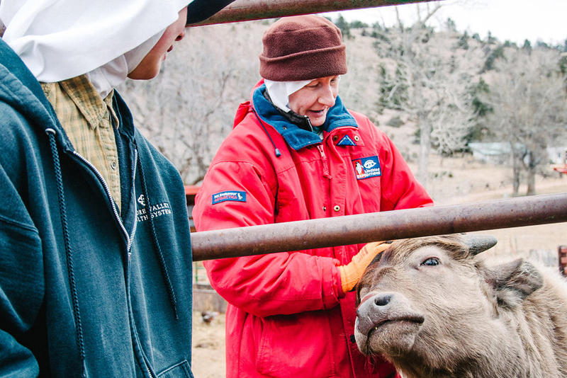 Sisters Ann, left, and Elizabeth tend to Yoda, a young water buffalo calf during his morning feeding at the Abbey of St. Walburga.