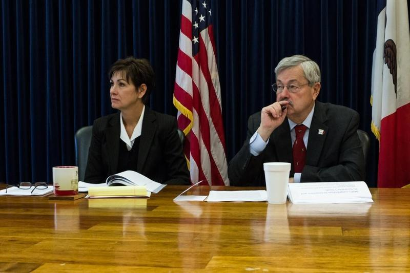 Lieutenant Governor Kim Reynolds and Governor Terry Branstad during budget hearings this week.