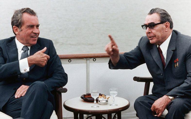 Nixon, pictured with Leonid Brezhnev.