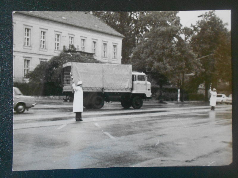 Trebec (left) was briefly a traffic cop. Here she directs traffic at the second biggest intersection in Potsdam.