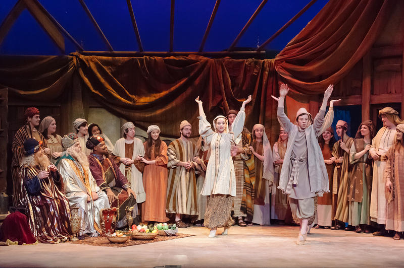 "Members of the cast of ""Amahl and the Night Visitors"" dance on stage for the three visiting wise men."