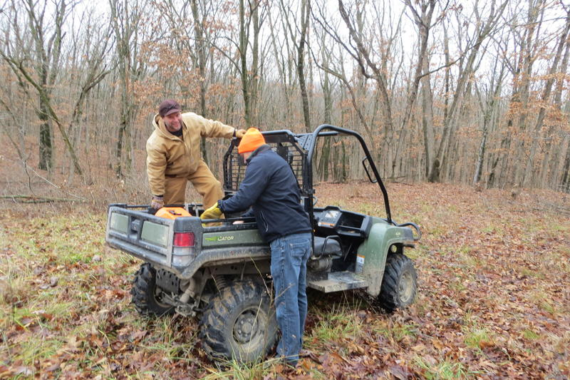 The DNR crew uses a Gator to reach isolated wooded areas