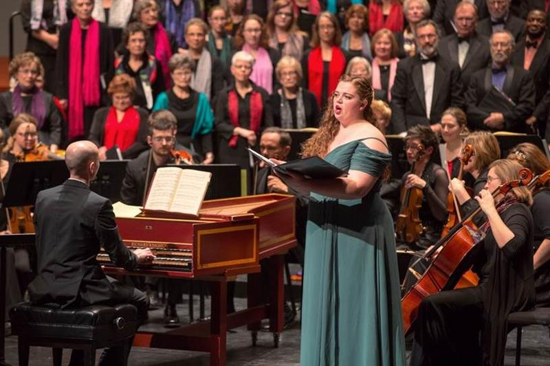 University of Northern Iowa vocalist Leia Lensing performs with the Metropolitan Chorale and wcfsymphony.