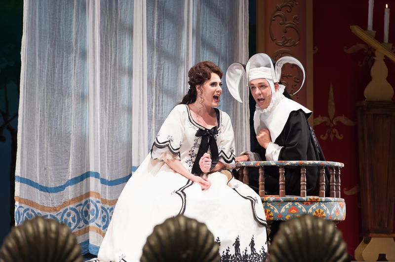 Soprano Sydney Mancasola performing as Comtesse Adèle in the Des Moines Metro Opera production of Le Comte Ory