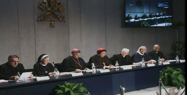 a screenshot of the press conference held in Rome Tuesday morning to announce results of a report about nuns in the U.S.