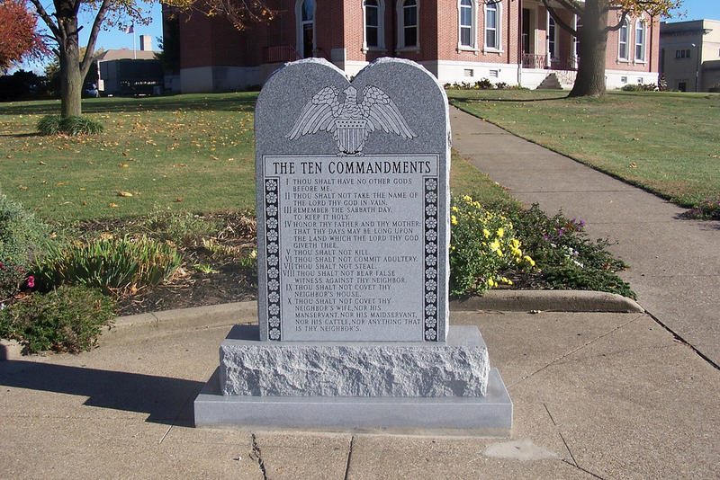 Ten Commandments Monument at Courthouse Square in Mount Vernon, Indiana