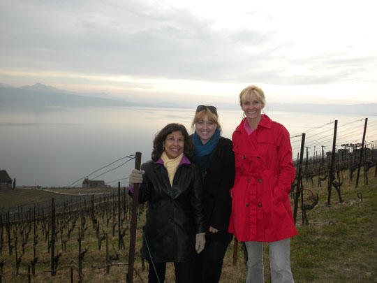 Janna Graber with her friends Esther (left) and Melanie (center) at the Alain Chollet winery overlooking Lake Geneva