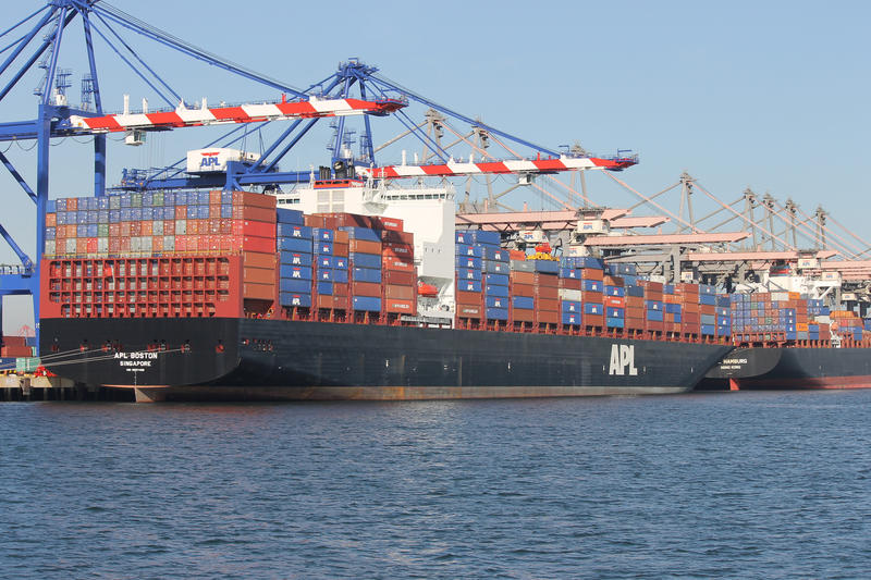 The ports of Los Angeles and Long Beach are the transit point for conatiners carrying goods into the United States and across the Pacific.