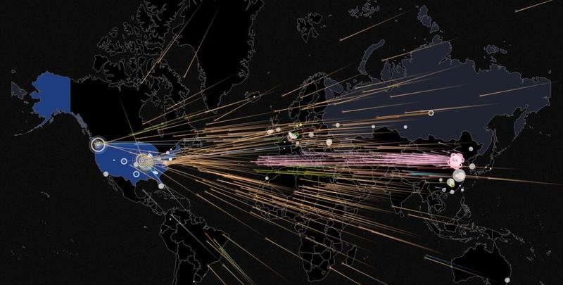 An online interactive map showing current cyber attacks worldwide