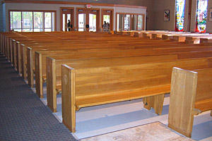 Pews and other church furnishings are one of the products manufactured by inmates through the Iowa Prisons Industries program.