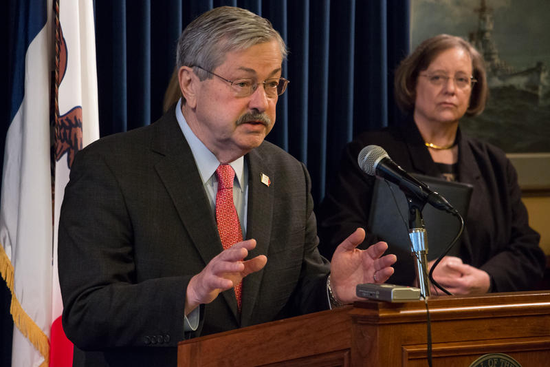 Governor Terry Brandstad talking this morning at his weekly press conference about domestic violence.