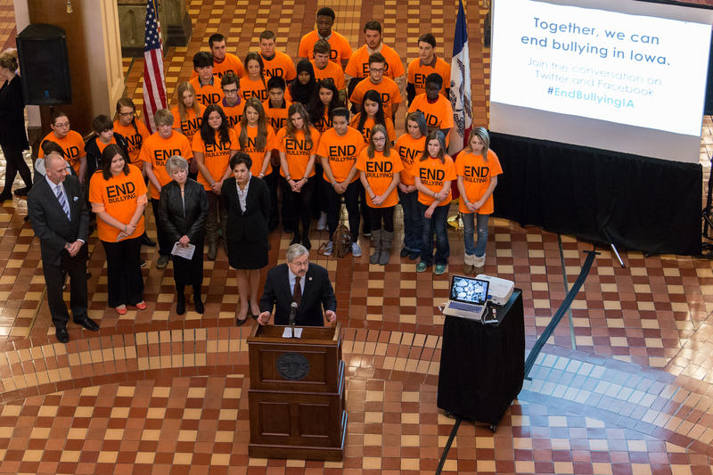 Governor Branstad pushes for anti-bullying legislation during his weekly press conference in the Capitol's Rotunda.  He is flanked by Lt. Governor Kim Reynolds, his wife Christine, and a number of teenage Iowa school students.