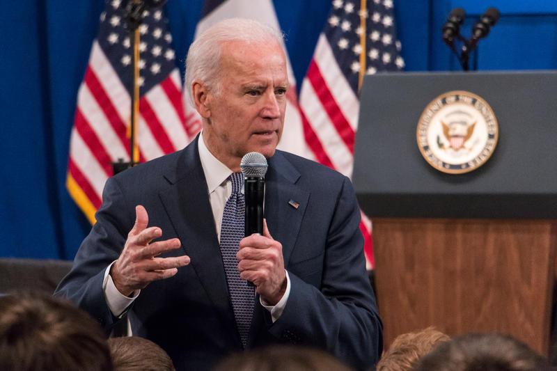 Vice President Joe Biden speaking in Sheslow Auditorium at Drake University.