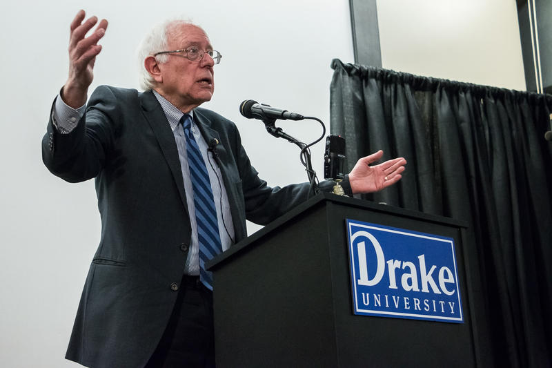 Vermont Senator Bernie Sanders speaking at Drake University during a series of stops in Iowa to gauge support for a presidential bid in 2016.
